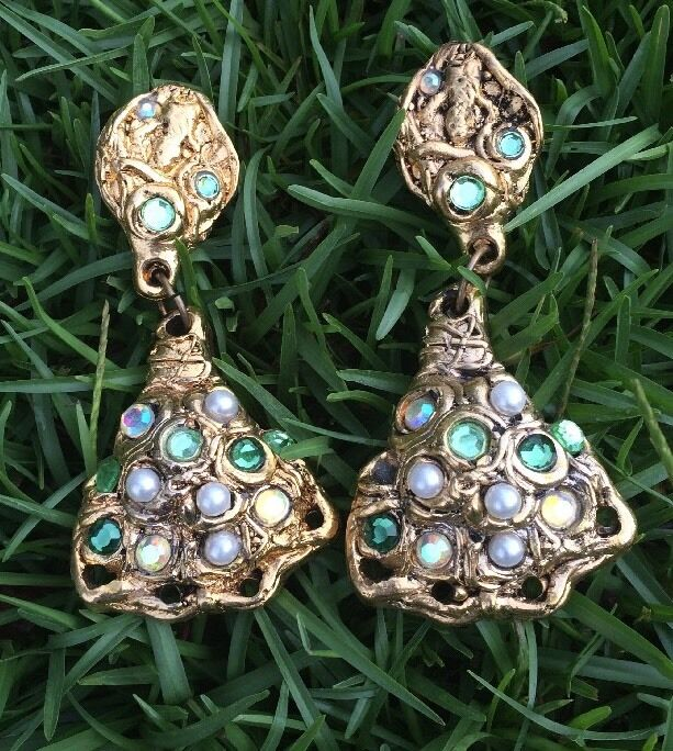 AWESOME VINTAGE gold Tone Clip On Statement Earrings POSSIBLY ONE OF A KIND