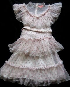MANOUSH Damenkleid ROBE DOLLY WEDDING in Creme-Hellgrau-Rosa Verspielt