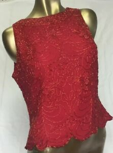 JKARA-New-York-Sleeveless-Evening-Top-Size-Large-Beaded-Red-Dressy