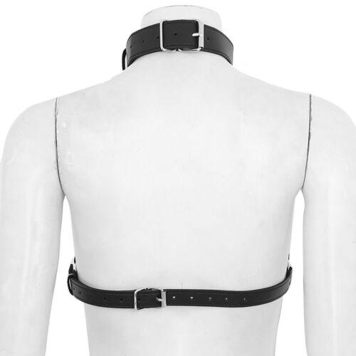 Adjustable Leather Chain Bra Harness Women Goth Cage Body Bralette Belt Clubwear
