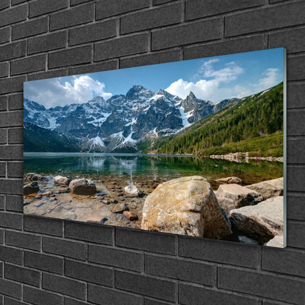 Tableau sur verre Image Impression 100x50 Paysage Montagnes Lac Pierres