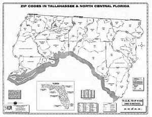 North Central Florida Map.Details About Tallahassee North Central Florida Laminated Zip Code Wall Map