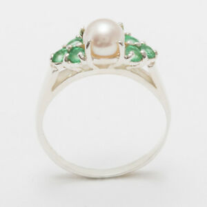 Solid-14ct-White-Gold-Full-Pearl-amp-Emerald-Womens-Cluster-Ring-Sizes-J-to-Z