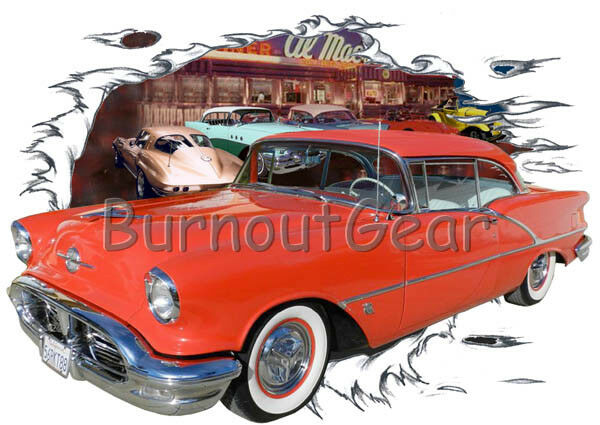 1956 ROT Oldsmobile b Custom Hot Rod Diner T-Shirt 56 Muscle Car Tees