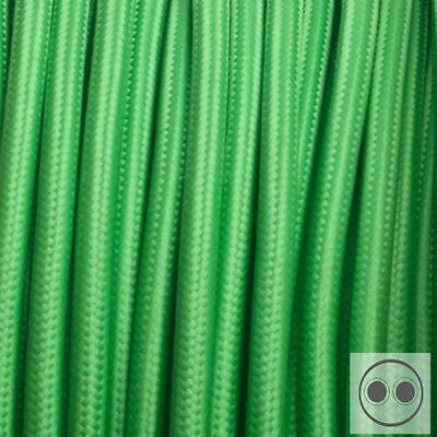 Textilkabel Stoffkabel Stromkabel grün 2 Adrig 2 X 0,75 Mm² Rund meterware