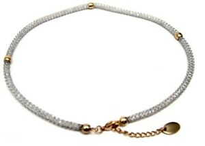 Mesh-Necklace-Clear-Beads-PVD-Gold-Surgical-Steel-Hypoallergenic-Adjustable