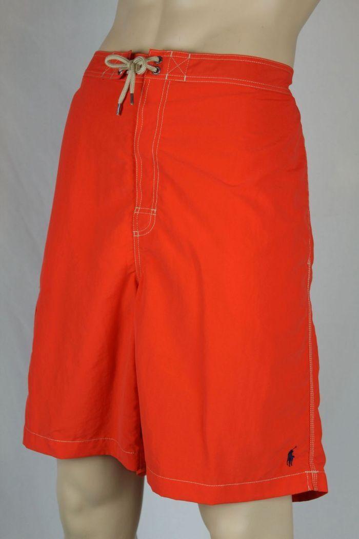 Ralph Lauren orange Swim Board Shorts Trunks Navy bluee Pony NWT 2XB Big