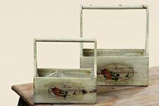 """2er Set Vintage Pflanzträger, Henkelkiste """"Rose"""""""