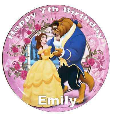 """Beauty And The Beast Personalised Wafer Paper Topper For Large Cake 7.5/"""" /& Under"""