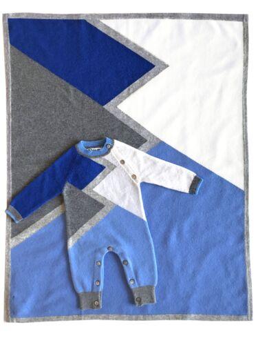 Infant Boy/'s Color Block Cashmere Romper and Blanket SET in Blue