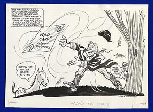 1970-039-s-Patriots-Ravens-034-Merry-Chase-034-11x15-Original-Cartoon-Art-by-Eddie-Germano
