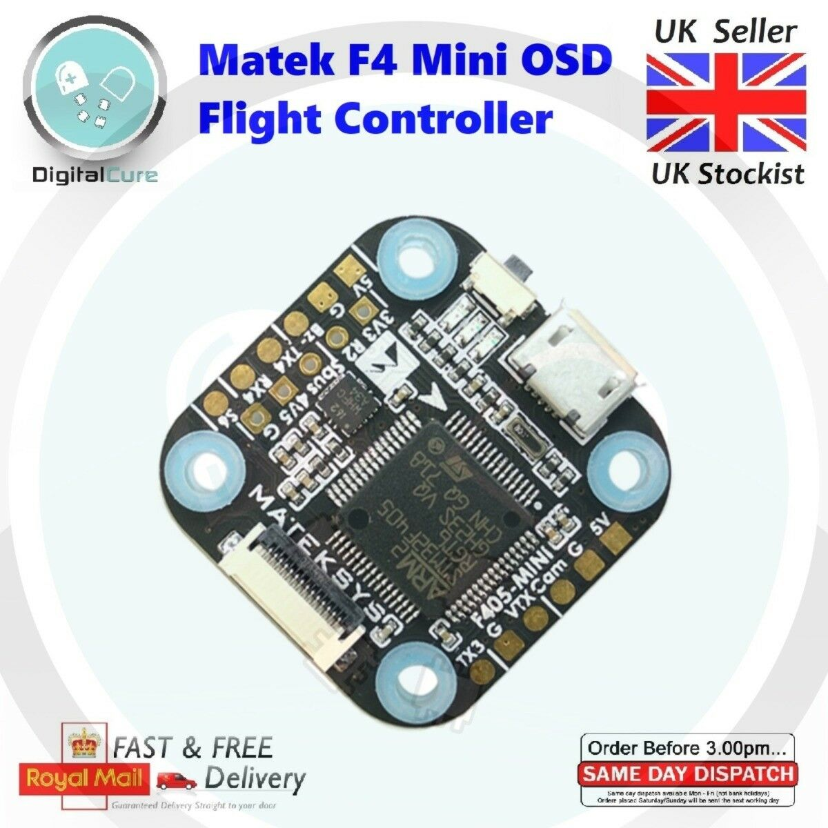 Matek F405 Mini OSD F4 Flight Controller Built-in OSD Betaflight 20mm