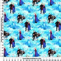 DISNEY FROZEN CHARACTER SCENIC PRINT 100% COTTON FABRIC BY THE 1/2 YARD