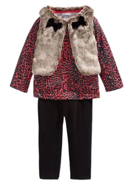 5b1c6e03a246 First Impressions Infant Girl 3 PC Leopard Shirt Faux Fur Vest Black ...