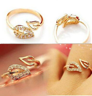 Lovely Delicate Gold Plated Rhinestone Leaf Finger Ring Jewelry Gift JT15 Woman