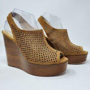 Coach-Tan-034-Chasity-034-Perforated-Mesh-Slingback-Wedge-Platform-Heels-Size-8