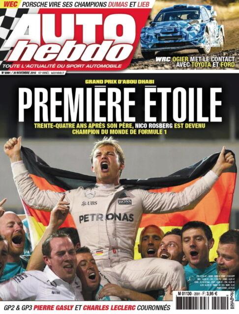 AUTO HEBDO n°2091 NEUF du 30/11/2016 : F1 GP Abou Dhabi - GP2 Gasly - WTCC - WRX