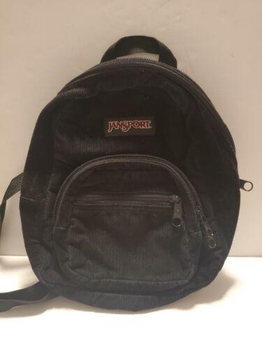 Jansport Mini Backpack Black Corduroy T907 Vintage