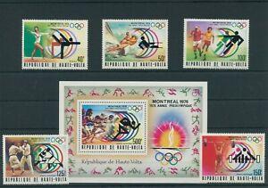 Haute-Volta-Olympia-1976-Montreal-Mi-611-615-Bl-40-Dente-Neuf-MNH