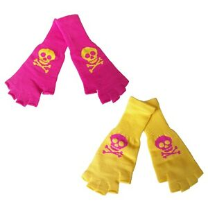 New-Wave-Gothic-Emo-Punk-80s-90s-Pink-Yellow-Womens-Skull-Fingerless-Knit-Gloves