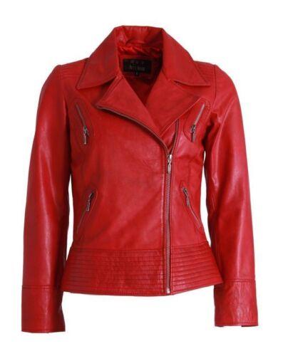 Women/'s Genuine Lambskin Motorcycle Slim Fit Biker Style Real Leather Jacket