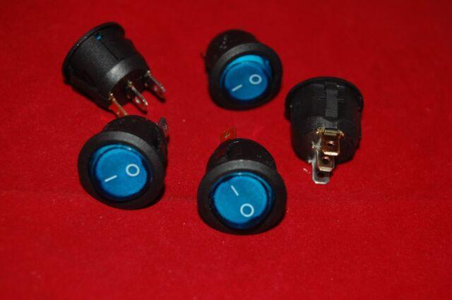 5Pcs 220V 6A LED Round Switch ON//OFF Boat Type Blue