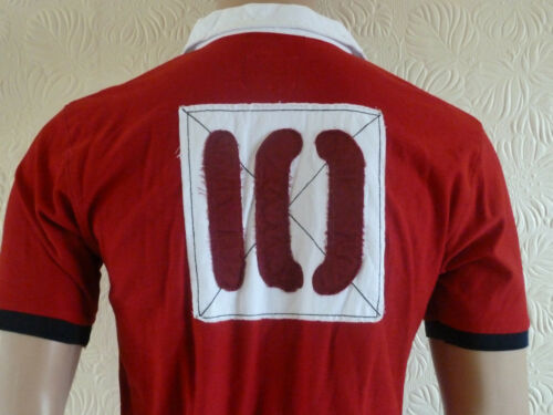 Men/'s Polo Shirt Red /& White Rugby Style