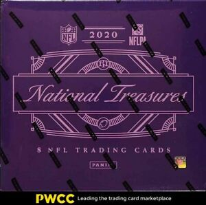 2020 Panini National Treasures Football Factory Sealed Box, 8 Cards