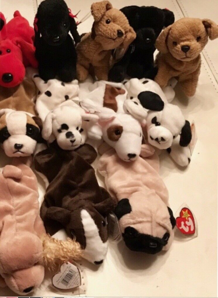 TY Beanie Beanie Beanie Babies, LOT of 19 ALL PUPPIES  Most 4th Gen Hang Tags, Mint    2411f0