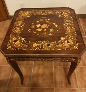 Bon Image Is Loading Vintage Italian Inlaid Laquered Wood Gaming Table