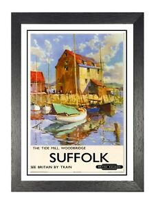 The-Tide-Mill-Woodbridge-Britanico-FERROCARRIL-Viaje-Anuncio-Vintage-Poster
