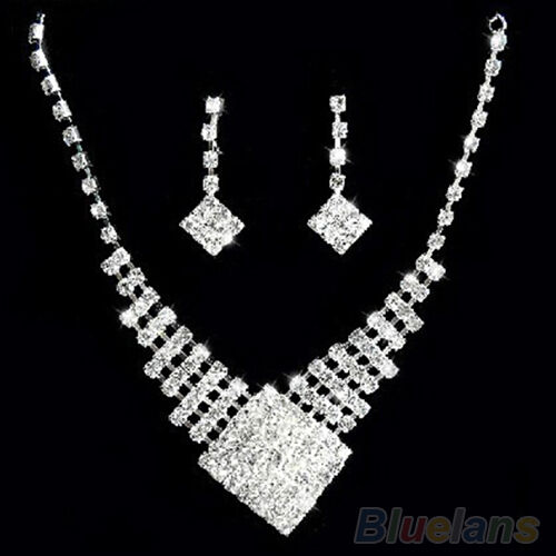 WOMEN DREAMED WHITE GOLD PLATED CRYSTAL BRIDAL WEDDING NECKLACE EARRINGS SET