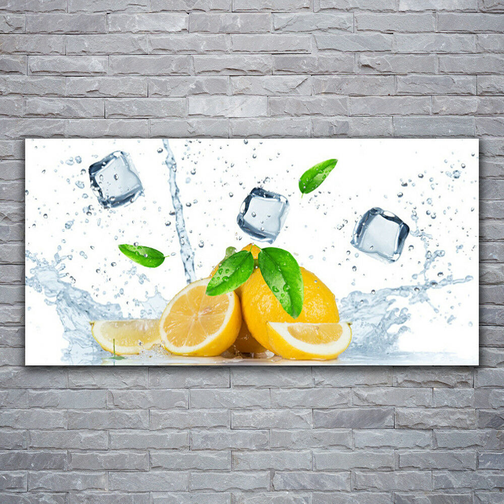 Photo sur toile Tableau Image Impression 120x60 Citron Grün Lime Cubes Glace
