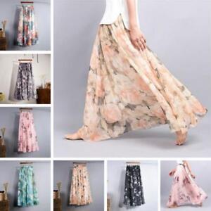 New-Women-Double-Layer-Pleated-Beach-Long-Maxi-Dress-Elastic-Waist-Skirt-B