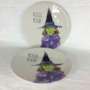Rae-Dunn-Hocus-Pocus-Witch-11-034-Dinner-Plates-Set-of-2-Halloween-Rare-HTF-F