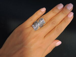 Big-Design-Vintage-Jewelry-Solid-Sterling-Silver-925-Woman-Ring-Fashion-Size-6-5