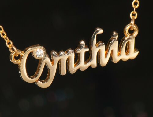 CYNTHIA Name Necklace with Rhinestone Gold or Silver Tone