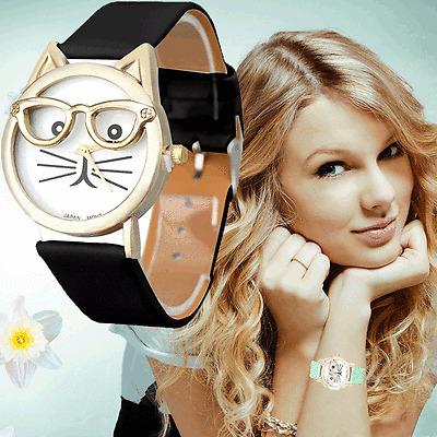 Cute Women Watch Glasses Cat Leather Band Analog Quartz Dress Wristwatch Часы