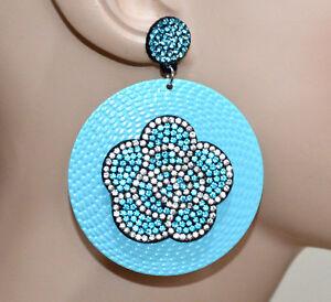 ORECCHINI-AZZURRI-donna-cerchi-pendenti-fiore-strass-brillantini-ragazza-CC108