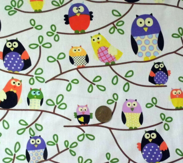 IVORY WITH STYLISED OWLS SITTING ON BRANCHES - COTTON FABRIC F.Q.'S