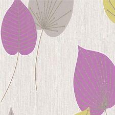 SALE | Modern Leaf Design Wallpaper Green/Pink Glitter 308211