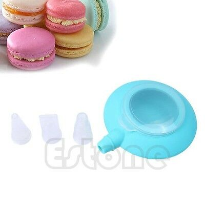 Mini Silicone Macaron Baking Decorating Pen Cream Cake Muffin 3 Nozzle Kit Set