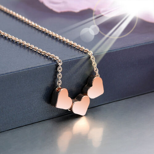 three Heart Women Rose Gold Stainless steel Jewelry Charms Necklace Pendant New