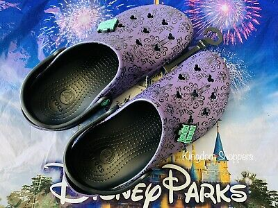 Disney Haunted Mansion Purple Wallpaper Crocs Adult Shoes In Hand M5//W7