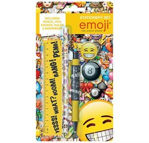 Official-Emoji-5pc-Stationery-Set-Pen-Pencil-Ruler-Rubber-Sharpener-School-Set