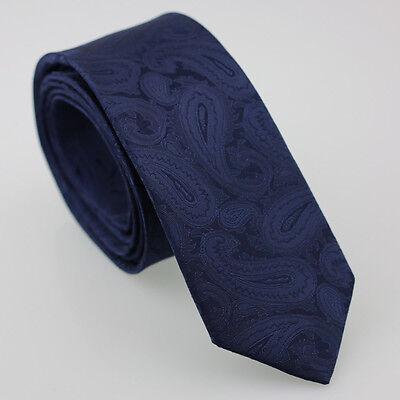 Coachella Ties Sky Blue Paisley Jacquard Woven Solid Necktie Mens Skinny Tie 6cm