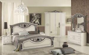 Das Bild Wird Geladen Schlafzimmer Giulia In Weiss Silber Klassik Barock