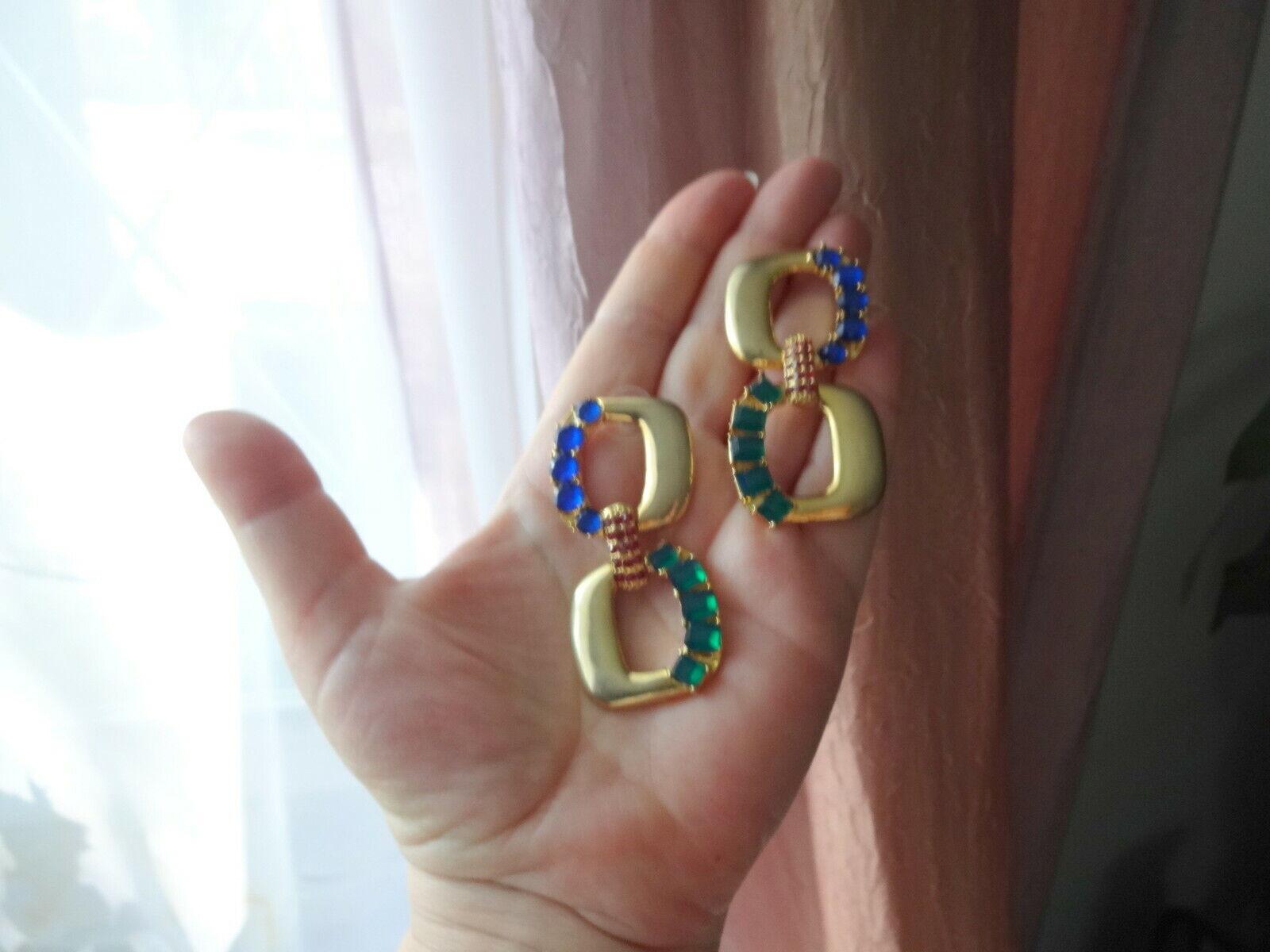 Vtg Arnold Scaasi Couture Color Crystal Big Dangl… - image 2