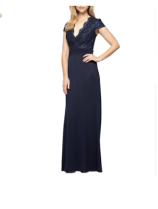 8b8e9e616e86d Image is loading ALEX-EVENINGS-EMBROIDERED-LACE-BODICE-CAP-SLEEVE-NAVY-