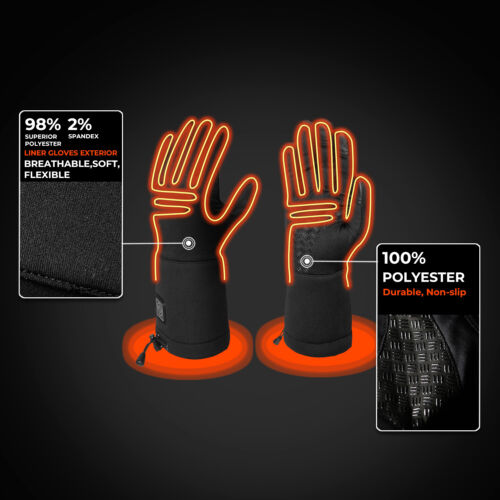 ORORO Men Women Heated Gloves Skiing Warm Gloves with Rechargeable Battery